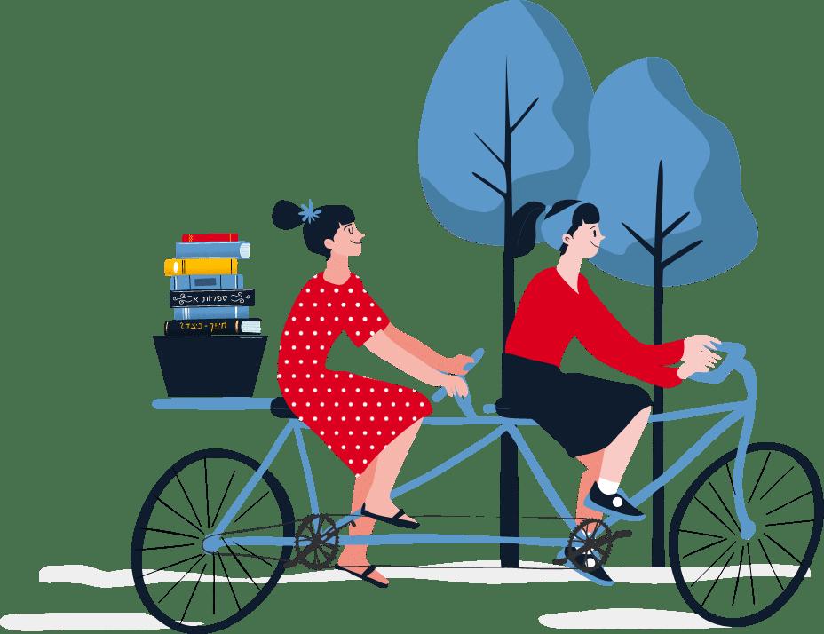 2 בנות רוכבות על אופניים